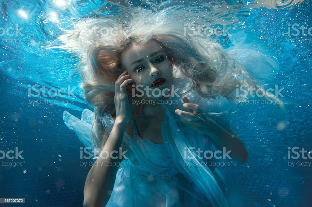 Portrait of a woman under water. stock photo