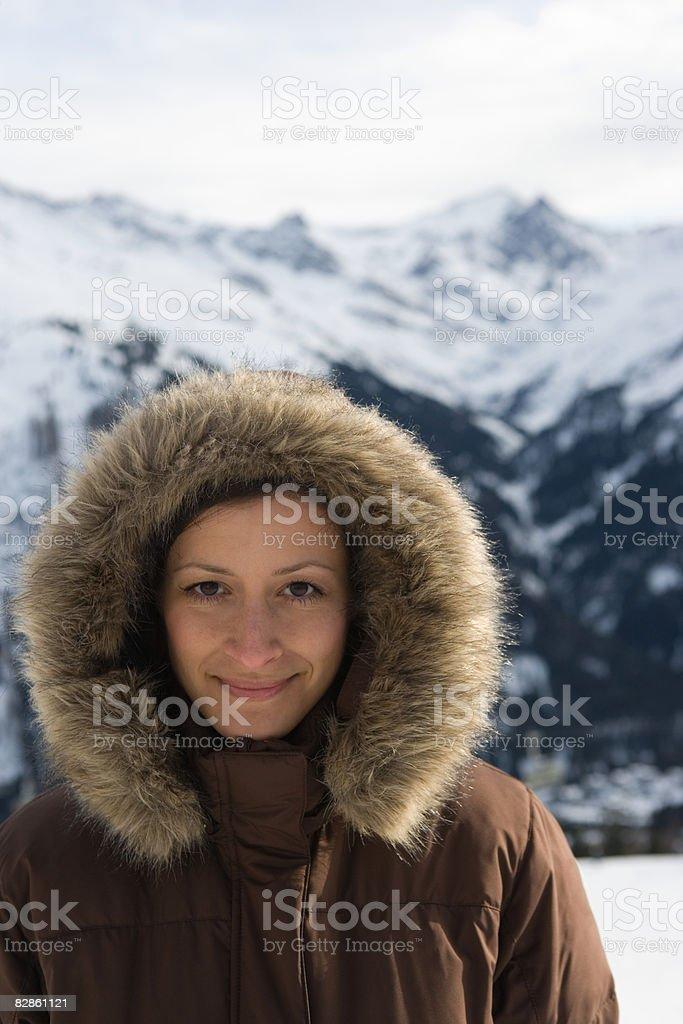 Portrait of a woman wearing a hood royalty free stockfoto