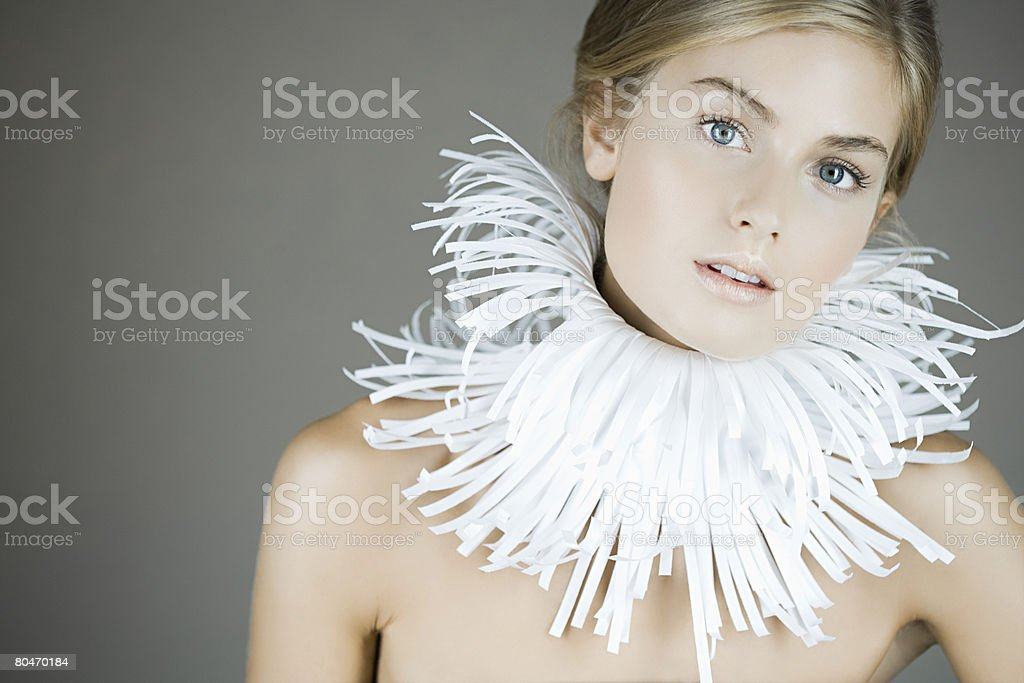 Portrait of a woman wearing a paper collar stock photo