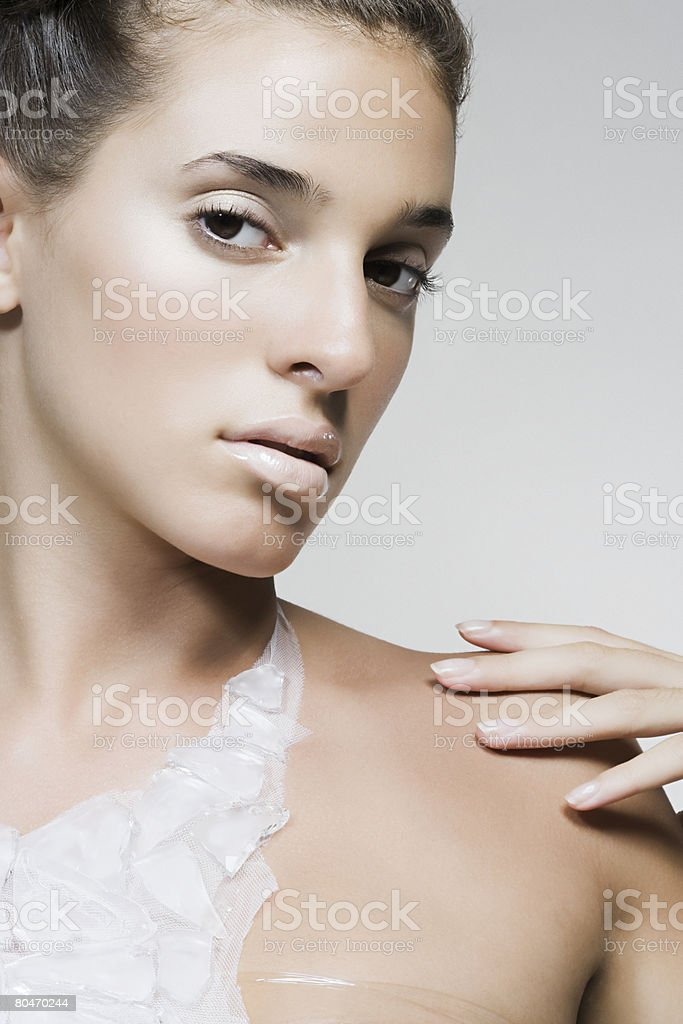 Portrait of a woman wearing a recycled necklace 免版稅 stock photo