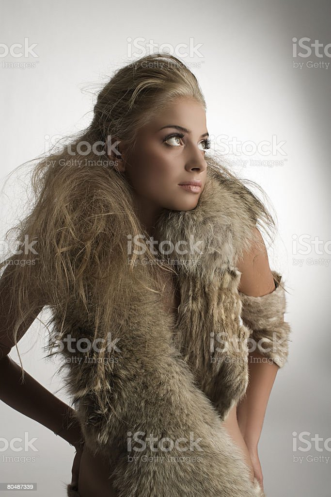 Portrait of a woman wearing fur 免版稅 stock photo