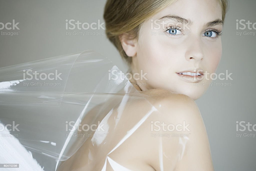 Portrait of a woman wearing plastic royalty-free stock photo