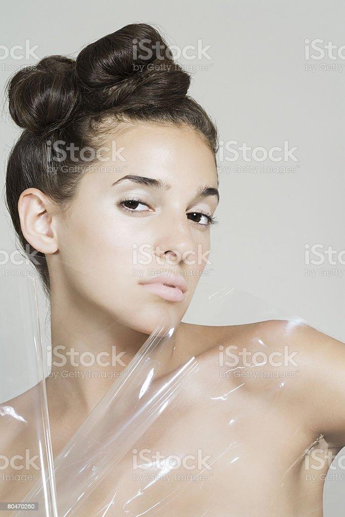 Portrait of a woman wearing plastic 免版稅 stock photo
