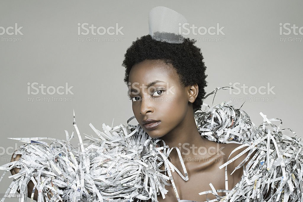 Portrait of a woman wearing recycled accessories royalty-free stock photo