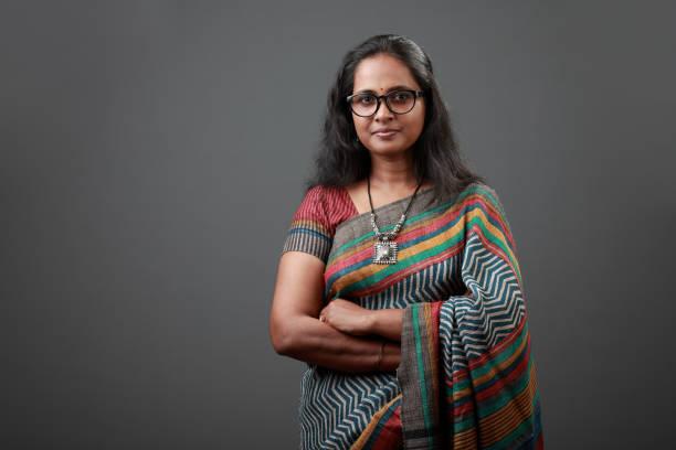Portrait of a woman wearing sari stock photo