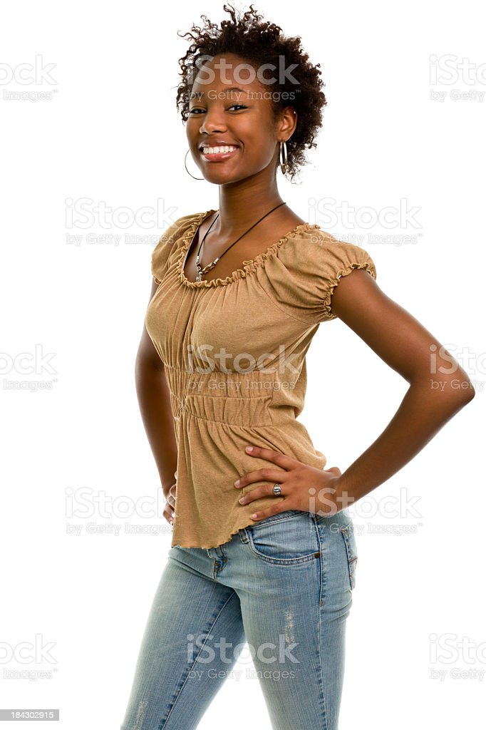 A portrait of a woman who is smiling and posing stock photo