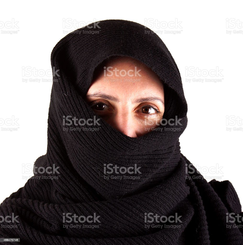 Portrait of a woman with a black scarf stock photo