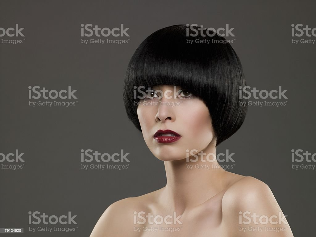 Portrait of a woman with a bob hairstyle royalty-free 스톡 사진