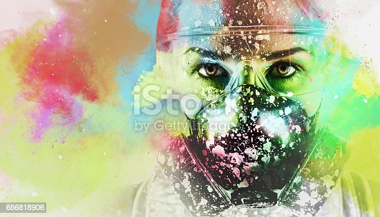 istock Portrait of a woman with protective filter mask 656818906