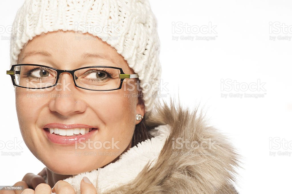 Portrait of a woman with winter hat and scarf royalty-free stock photo