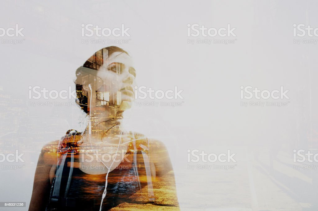 Portrait of a world traveller stock photo