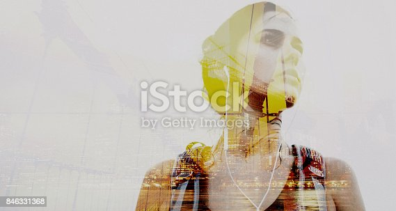 Double exposure photo of a young determined woman during her exploration of cities of the world; wide photo dimensions