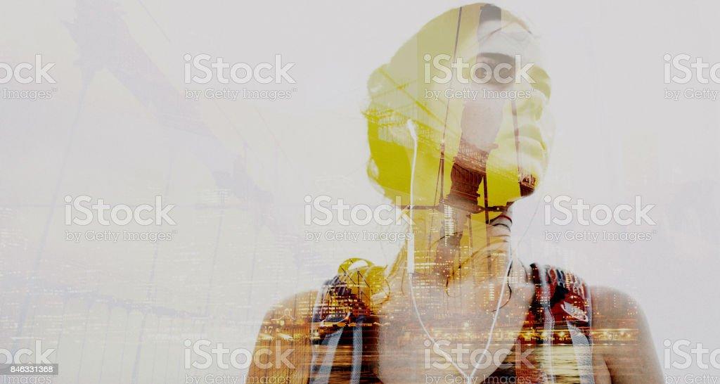 Portrait of a world traveller stock photo