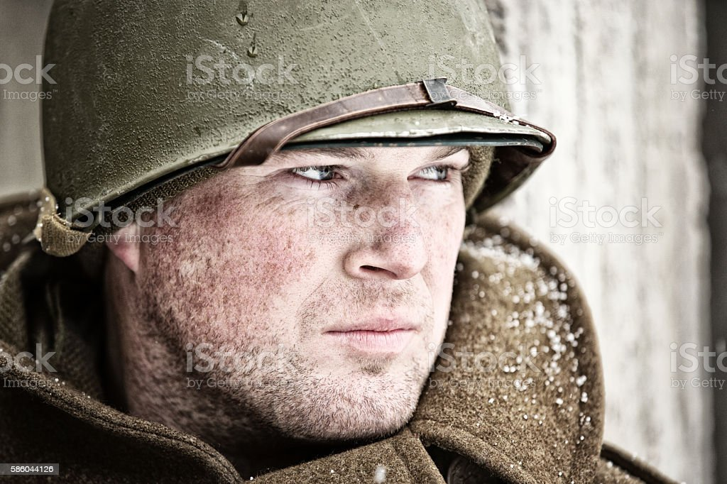 Portrait of a WWII Soldier stock photo
