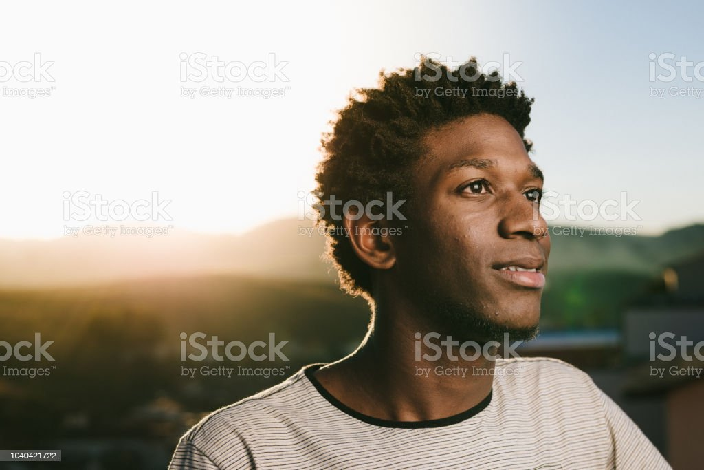 Portrait of a young African American stock photo