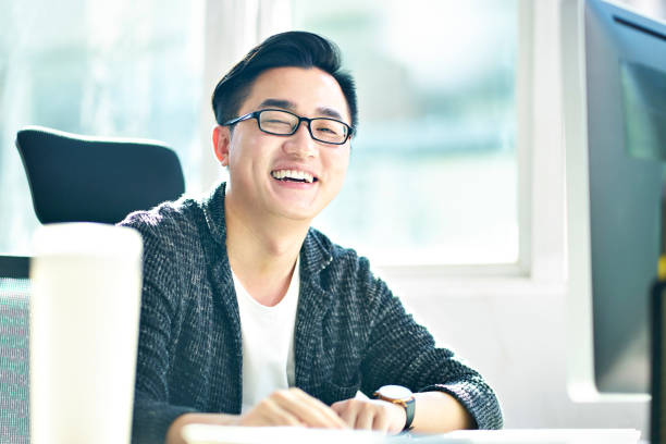 portrait of a young asian businessman stock photo