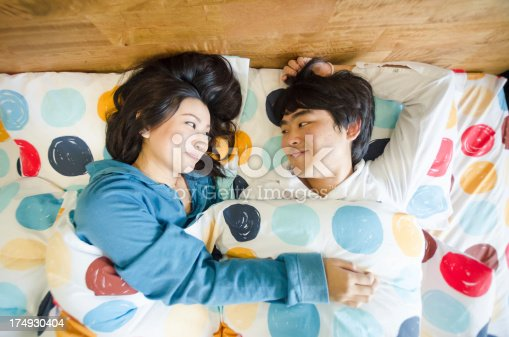 505826794 istock photo Portrait of a young Asian couple in bed 174930404