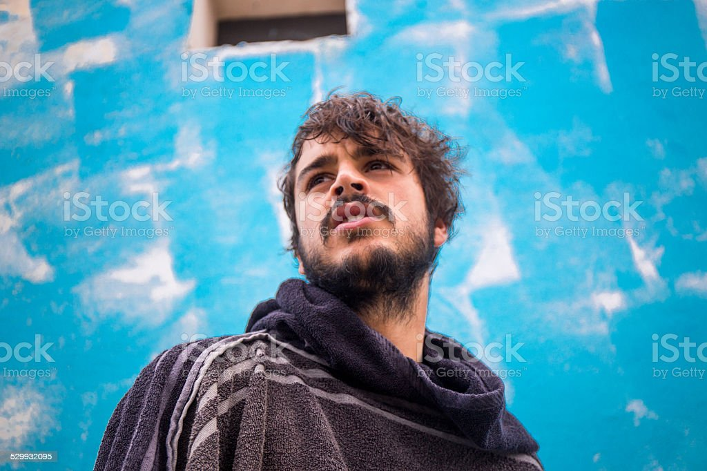 Portrait of a young bearded man stock photo