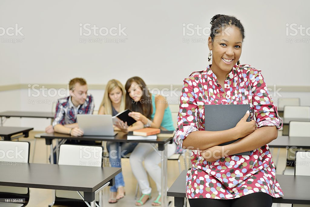Portrait of a young beautiful college student at school royalty-free stock photo