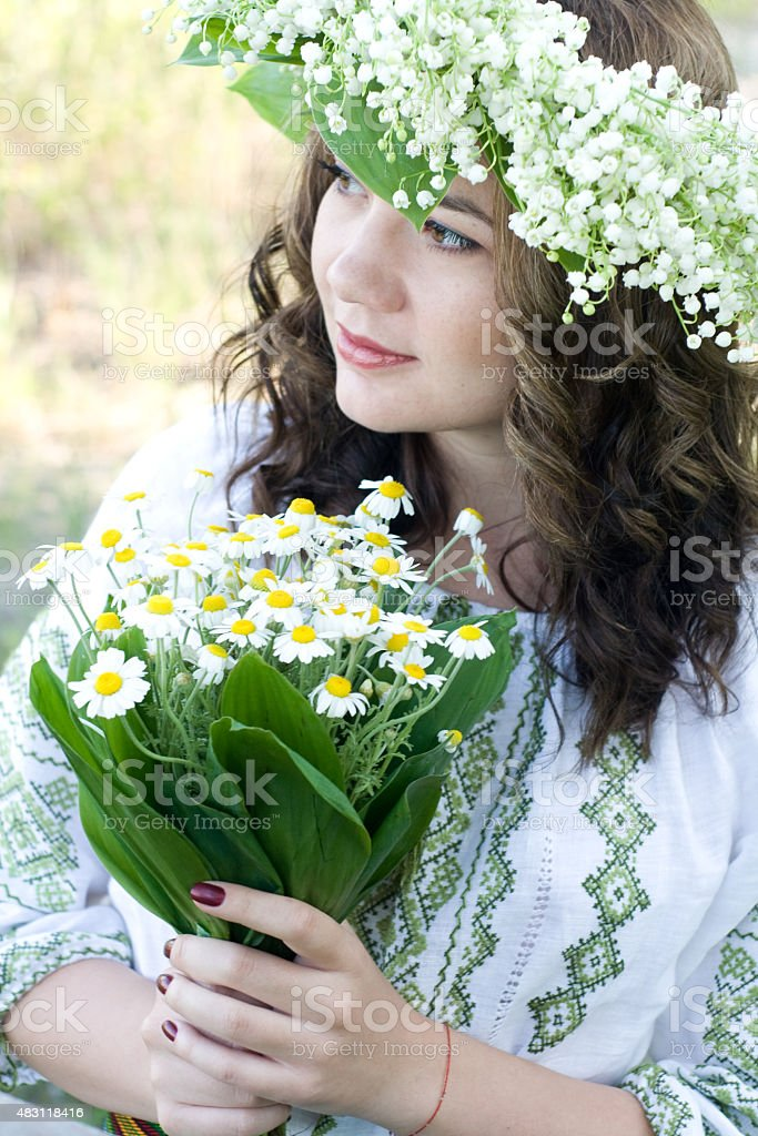Portrait of a young beautiful in traditional Ukrainian embroider stock photo