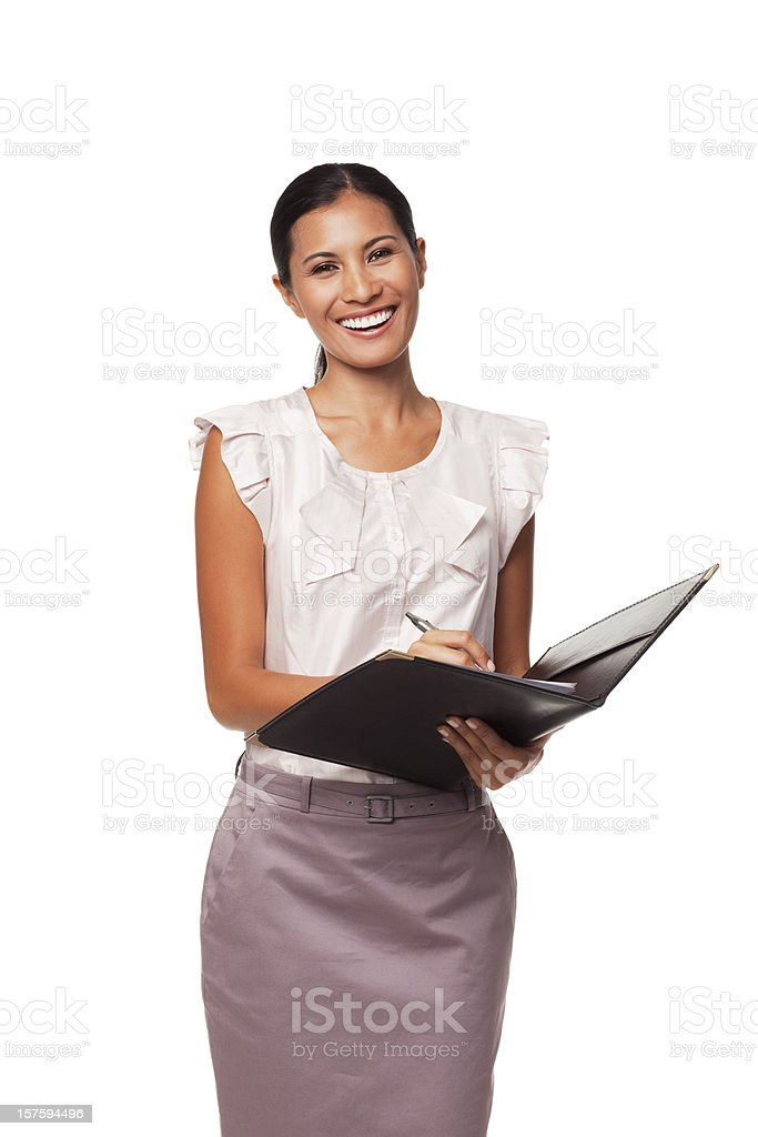 Portrait of a Young Businesswoman Holding Clipboard. Isolated royalty-free stock photo