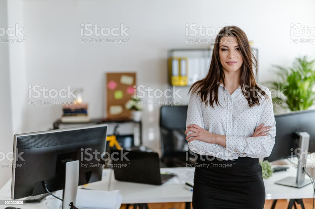 Portrait of a young businesswoman in her office stock photo