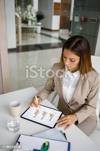 Portrait of a young businesswoman using digital tablet in an office