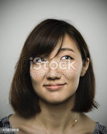 istock Portrait of a young chinese woman with happy smile 475623618