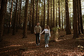 Portrait of a young couple at the forest in autumn