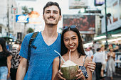 Portrait of a young couple together in Bangkok