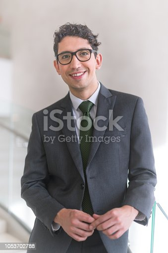 Portrait of an ethnic businessman in his 20s. He is wearing a suit and tie and is looking at the camera with a slight smile.