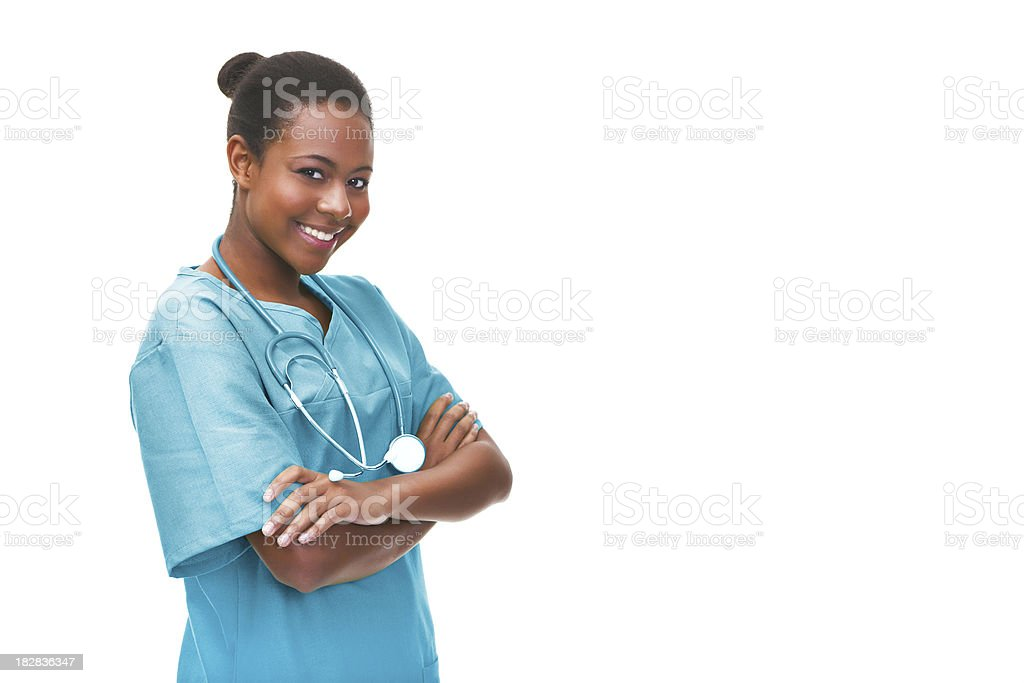 Portrait of a young female doctor stock photo