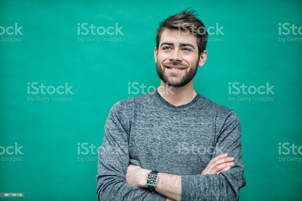 Portrait of a young french man stock photo