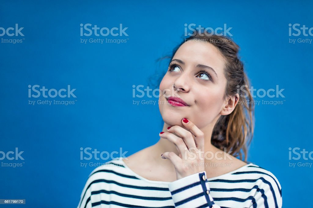 Portrait of a young french woman stock photo