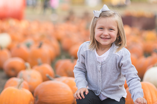 istock Portrait of a young girl at a pumpkin patch 971833128