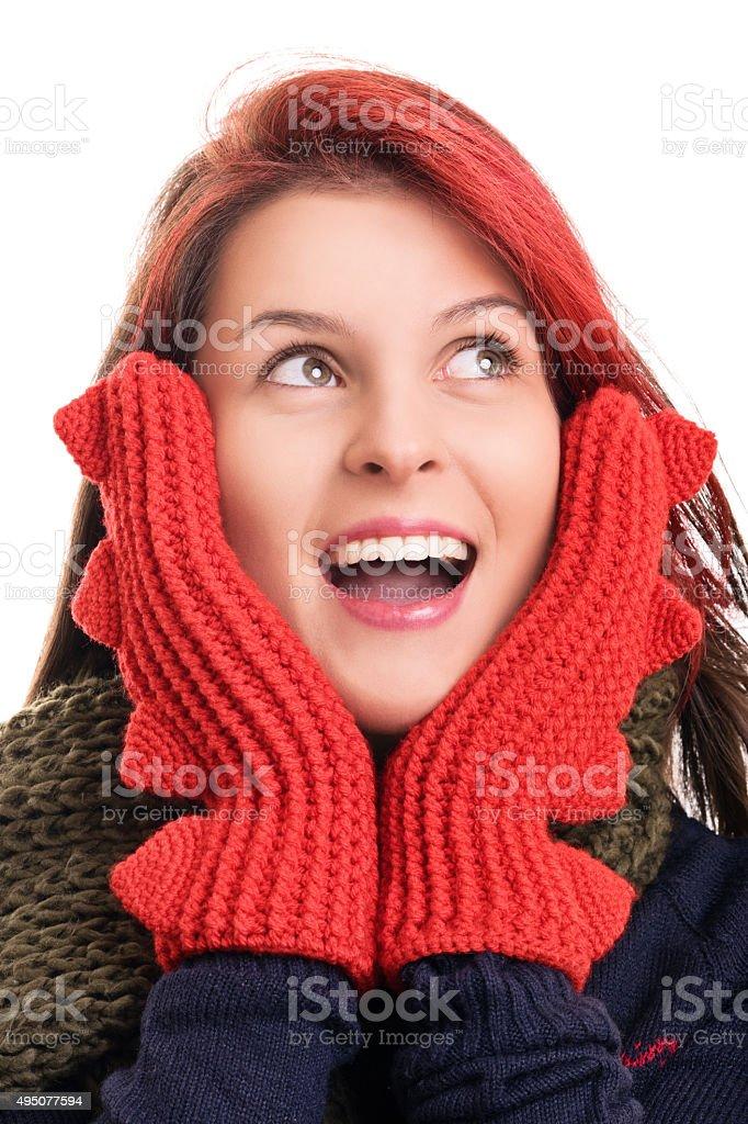 e9cb420a3a5a Ritratto di una giovane ragazza in abbigliamento invernale foto stock  royalty-free