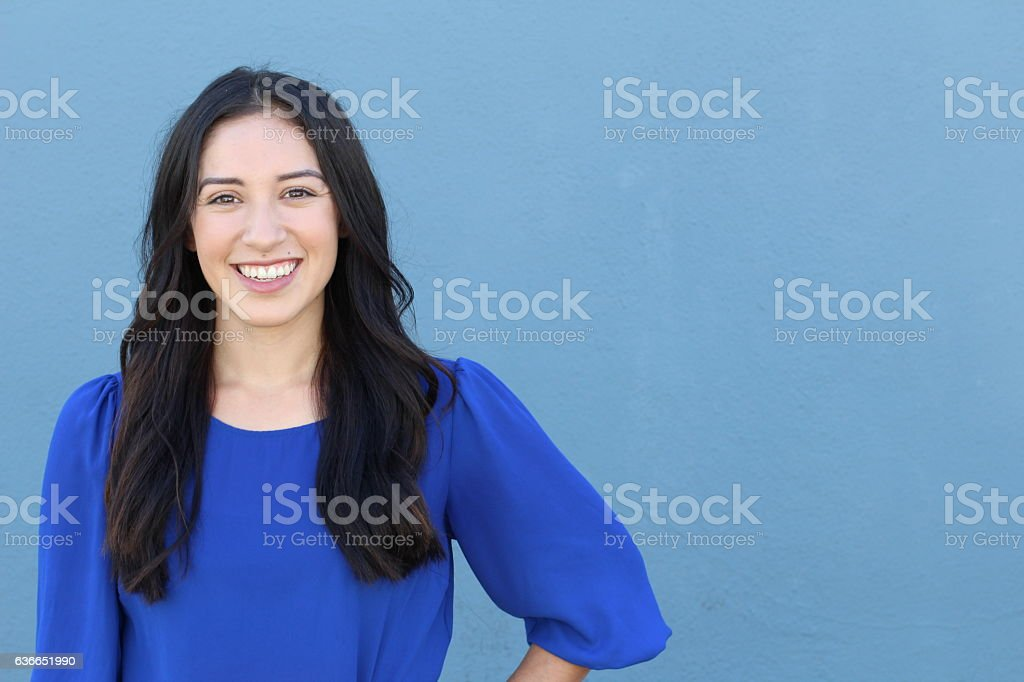 Portrait of a young girl smiling stock photo
