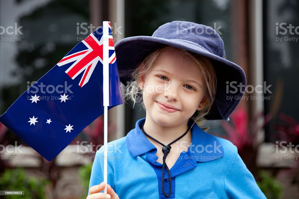 Portrait of a young girl with an Australian Flag  stock photo
