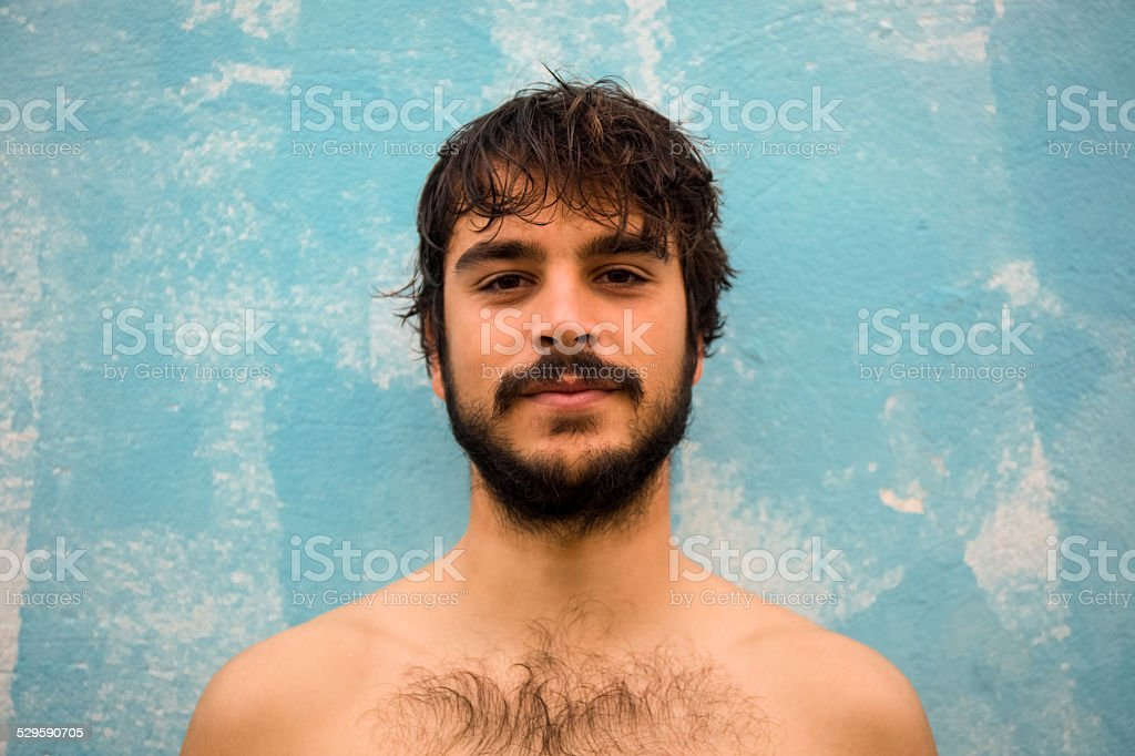 Portrait of a young guy with beard stock photo