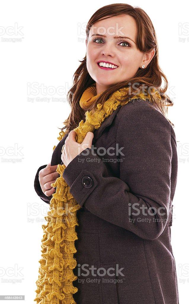 nuovo arrivo 9e10f e2073 Ritratto Di Una Giovane Donna Felice Con Cappotto E Sciarpa ...