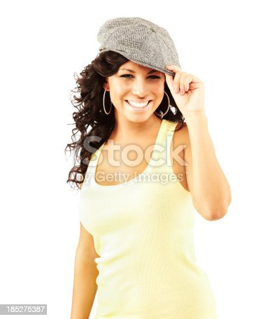 807419930 istock photo Portrait of a young Hispannic female model smiling 185275387