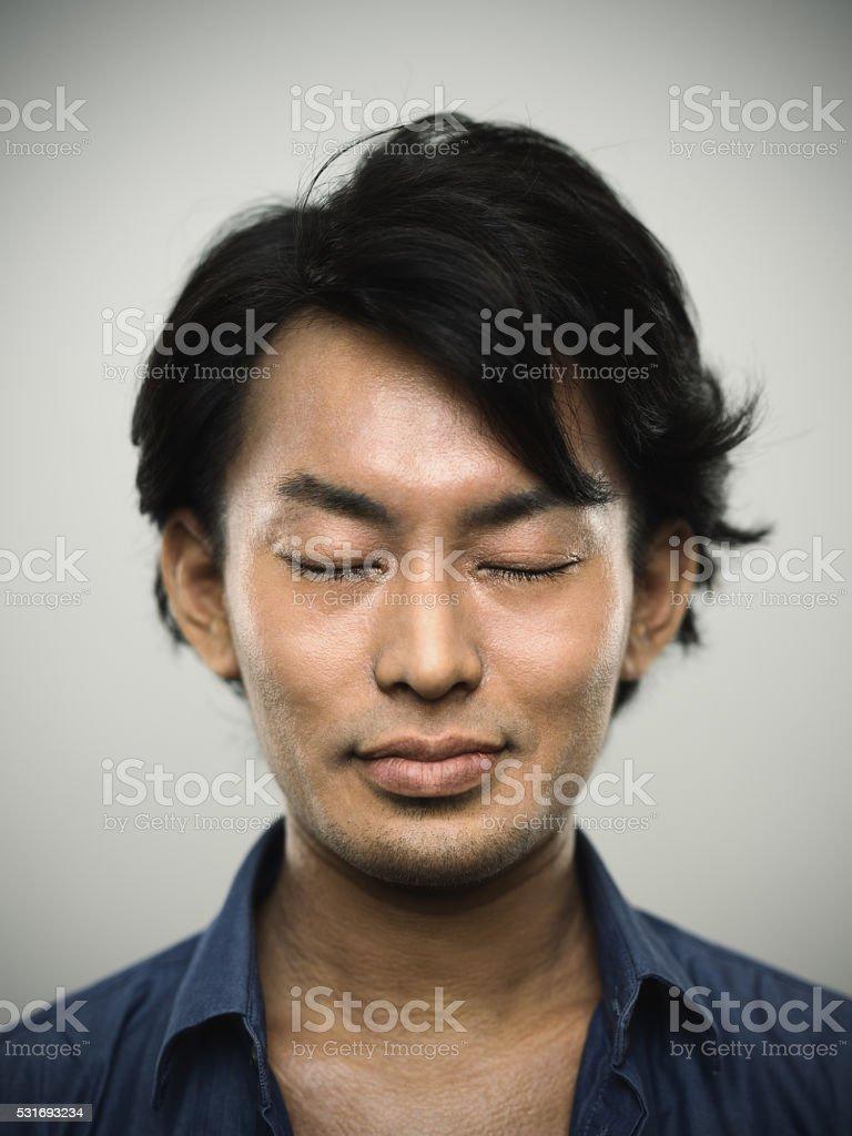 Giapponese Ritratto Di Un Giovane Uomo Con Gli Occhi Chiusi
