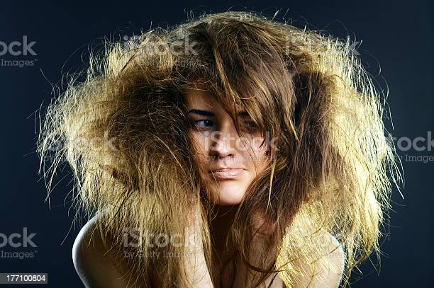 Portrait Of A Young Lady With Tousled Hair Stock Photo - Download Image Now