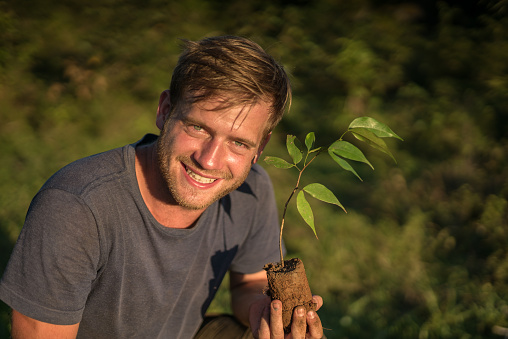 Portrait of a young man holding a seedling on a plantation