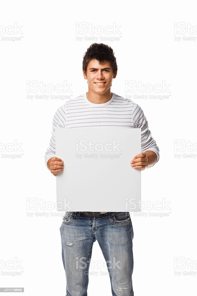 Portrait of a young man holding white blank card royalty-free stock photo