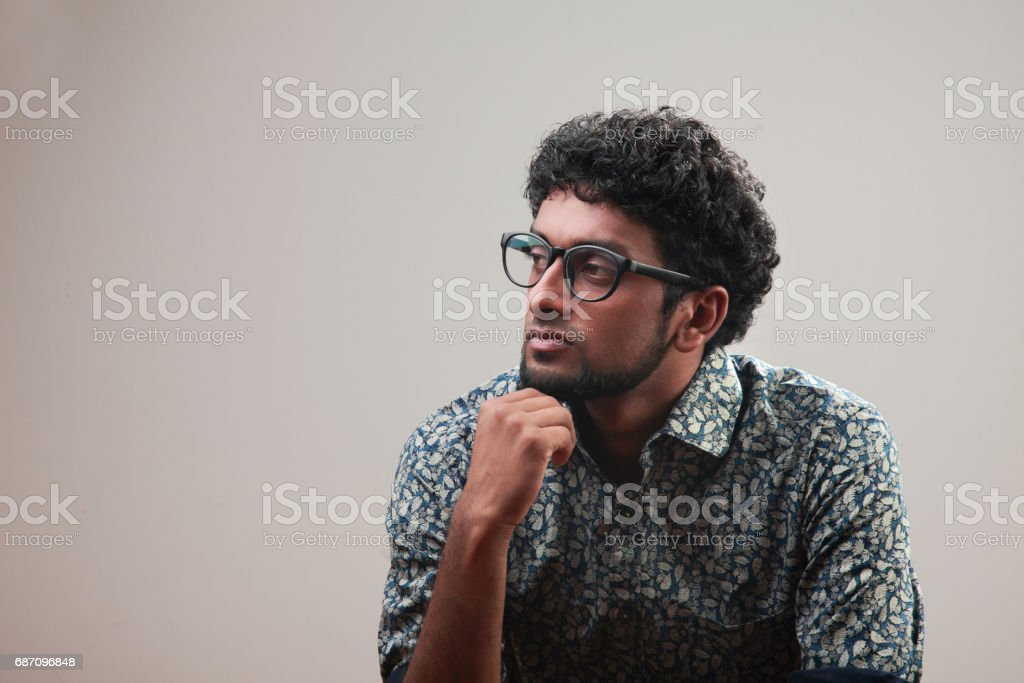 Portrait of a young man in a pensive mood Lizenzfreies stock-foto