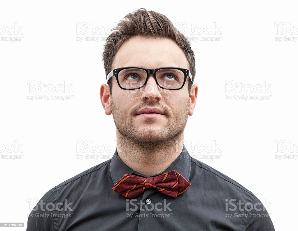 Portrait of a Young Man Looking Up Left stock photo