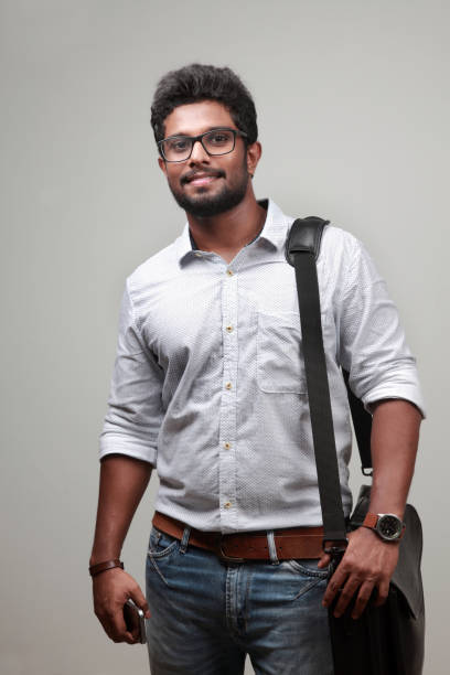 Portrait of a young man of Indian origin stock photo