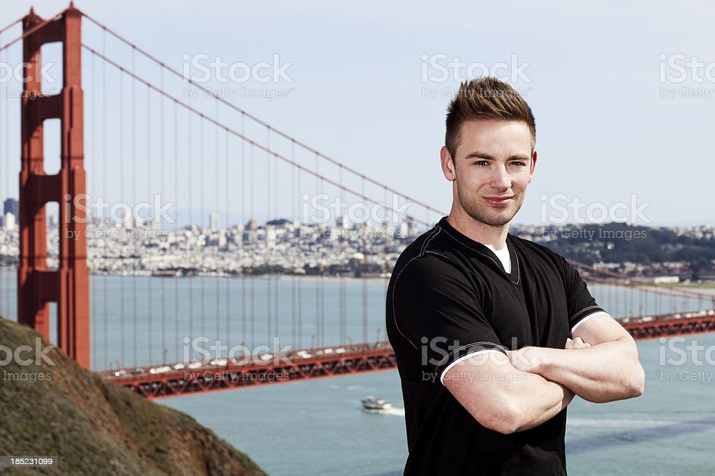Portrait of a young man outdoors in San Fransisco royalty-free stock photo