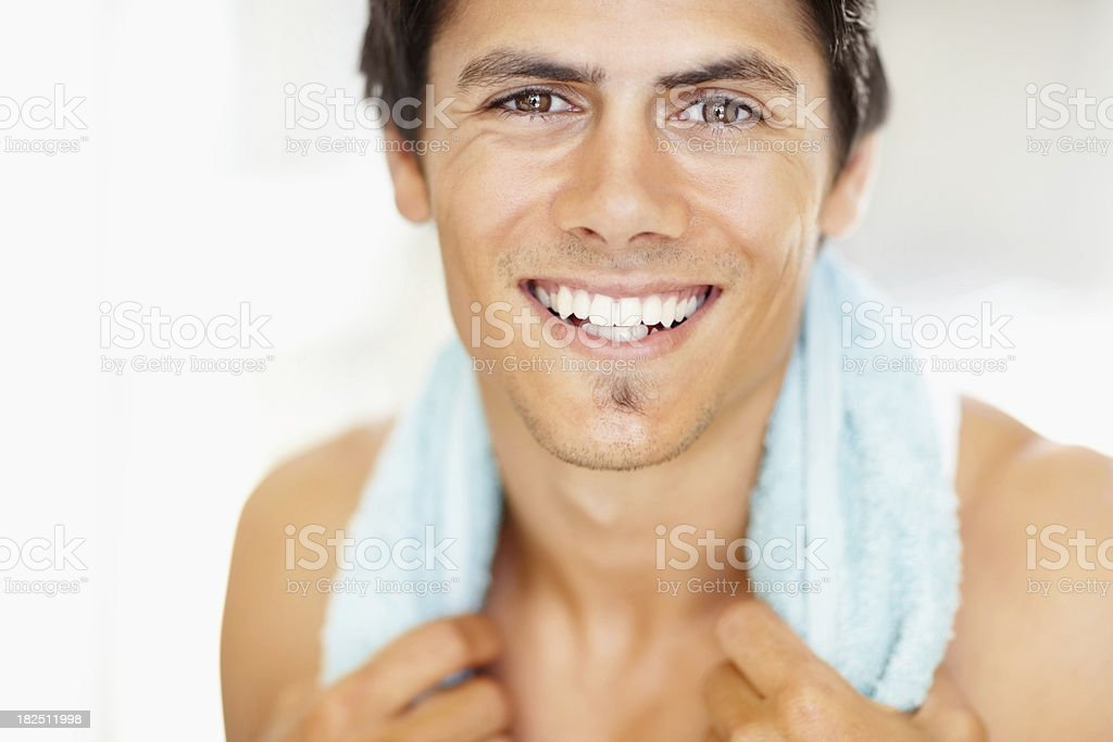 Portrait of a young man smiling after workout royalty-free stock photo
